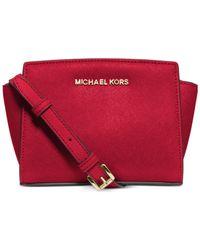 Michael Kors | Red Michael Selma Mini Messenger Bag | Lyst