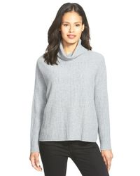Eileen Fisher Gray Boxy Cashmere Turtleneck Sweater