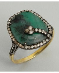 Amrapali - Green Emerald and Diamond Ring - Lyst