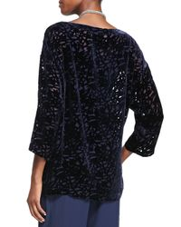 Eileen Fisher - Blue Velvet Vines Burnout Top - Lyst