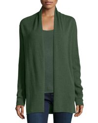 Neiman Marcus | Green Cashmere Draped Cardigan | Lyst