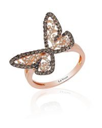 Le Vian | Pink 14k Rose Gold Chocolate-and-vanilla Diamond Butterfly Ring | Lyst