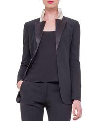 Akris - Black Double-face Wool Tuxedo Jacket W/satin Lapels - Lyst