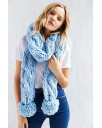 Urban Outfitters - Blue Chunky Knit Pompom Scarf - Lyst