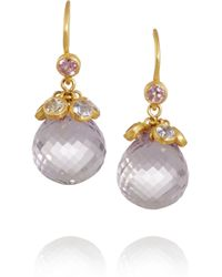 Marie-hélène De Taillac | Purple 22-Karat Gold, Amethyst And Sapphire Drop Earrings | Lyst