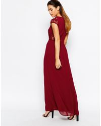 Elise Ryan - Purple Maxi Dress With Lace Sleeves - Lyst