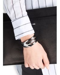 McQ - Black Leather Swallow Triple Wrap Bracelet - Lyst