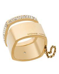Michael Kors | Metallic Etched Logo Ring | Lyst