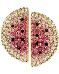 Betsey Johnson - Pink Gold-Tone Pavé Watermelon Stud Earrings - Lyst