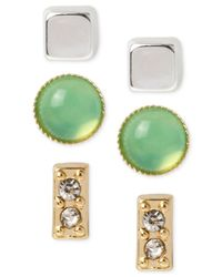 Kenneth Cole | Green Stone And Square Stud Earring Set | Lyst