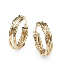 Saks Fifth Avenue | Metallic 14K Yellow Gold Braided Hoop Earrings/0.75"