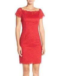 Adrianna Papell - Red Off The Shoulder Lace Sheath Dress - Lyst