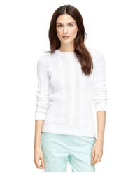 Brooks Brothers - White Long-sleeve Cable Sweater - Lyst