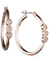 Nine West | Pink Crystal Disc Hoop Earrings | Lyst