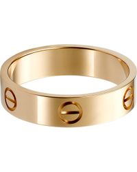 Cartier - Love 18Ct Pink-Gold Ring - Lyst