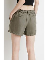 Forever 21 | Natural Contemporary Paper-bag Waist Linen Shorts | Lyst