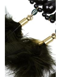 Isabel Marant - Black Gold-Tone, Crystal And Feather Necklace - Lyst
