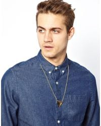 ASOS - Metallic Necklace with Triangle for Men - Lyst