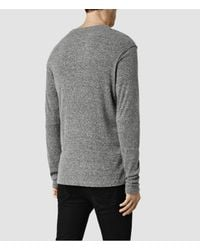AllSaints | Gray Stercus Long Sleeve Crew T-shirt Usa Usa for Men | Lyst