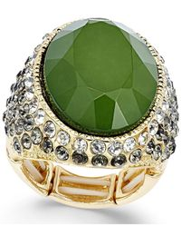 INC International Concepts - Gold-tone Green Stone Stretch Ring - Lyst