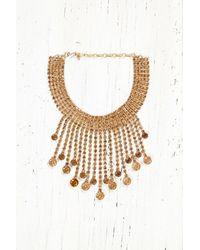 Free People - Metallic Vintage Necklace With Amber Gems - Lyst