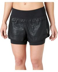 Reebok | Black Embossed Two-in-one Running Shorts | Lyst