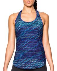 Under Armour - Blue Fly By Printed Running Tank Top - Lyst