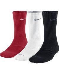 Nike - Red Dri-fit Cushion Crew Socks 3 Pack for Men - Lyst