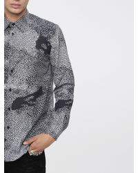 DIESEL Gray S-luxx Cotton Poplin Shirt With Digital Pattern for men