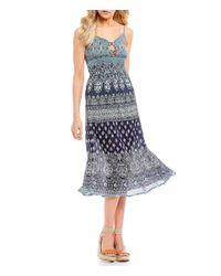 Patrons Of Peace - Blue Smocked Bandana Dress - Lyst