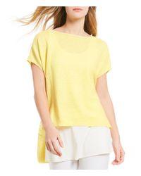 Eileen Fisher - Blue Bateau Neck Short Sleeve Poncho Top - Lyst