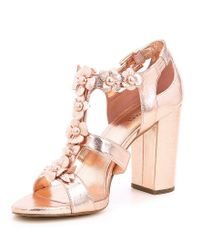 MICHAEL Michael Kors Tricia Flower Embellished T-Strap Block Heel Dress Sandals MOuDJ