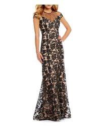 Kay Unger - Black Sequin Lace Hi Lo Gown - Lyst