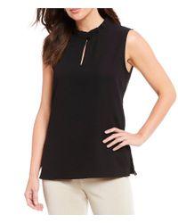 Misook - Black Ruffle Stand Collar Sleeveless Blouse - Lyst