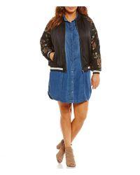 Jessica Simpson - Black Plus Tabby Embellished Bomber - Lyst