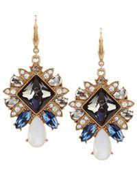 Belle By Badgley Mischka | Metallic Deco Mother-of-pearl Drop Statement Earrings | Lyst