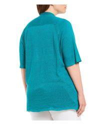 Eileen Fisher - Black Plus Size Elbow Sleeve Cardigan - Lyst