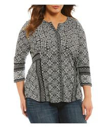 Lucky Brand - Black Plus Geo Print Button-up Top - Lyst
