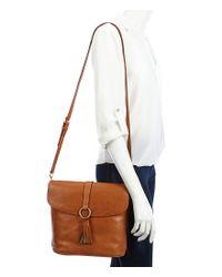 Dooney & Bourke - Brown Florentine Collection Large Dottie Tasseled Cross-body Bag - Lyst