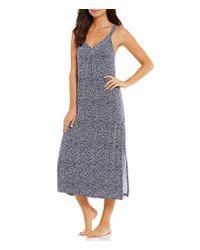 Oscar de la Renta - Blue Pink Label Herringbone-print Nightgown - Lyst