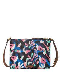 Fossil - Blue Fiona Floral Small Cross-body Bag - Lyst