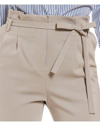 Ivanka Trump - Natural Soft Twill Belted Paper-bag Belted Tie Waist Ankle Pants - Lyst