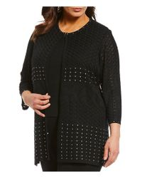 Ming Wang - Black Plus Size Stud Trim Jacket - Lyst