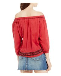 Chelsea & Violet Blue Off-the-shoulder Long Sleeve Embroidered Top