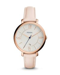 Fossil - Multicolor Jacqueline Date Blush Leather Watch - Lyst