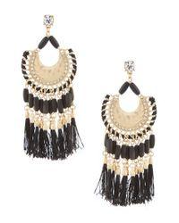 Belle By Badgley Mischka - Metallic Fancy Multi Tassel Drop Statement Earrings - Lyst