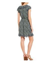 MICHAEL Michael Kors - Green Tiny Wildflowers Floral Print Scallop Edge Dress - Lyst