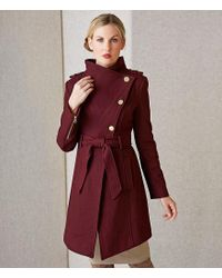 Guess - Red Asymmetrical Envelope Collar Wool Belted Wrap Coat - Lyst