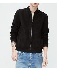 Ugg - Brown Lambskin Suede Bomber for Men - Lyst