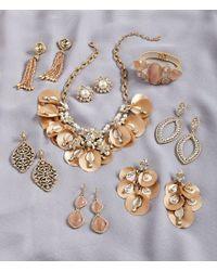 Belle By Badgley Mischka - Metallic Open Multi Navette Drop Pav Earrings - Lyst
